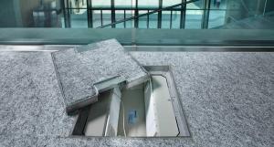 torretta a pavimento per impianti elettrici a scomparsa museo lac