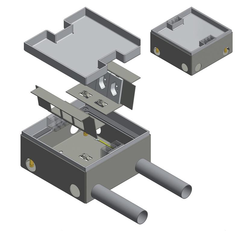 modello di torretta a pavimento per impianti elettrici e cablaggio