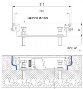 schema tecnico vista laterale impianto elettrico canali a pavimento woertz bok8880 in 200