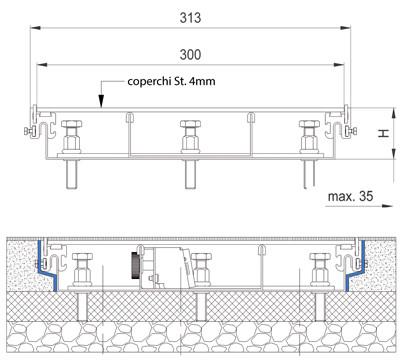 schema tecnico impianto elettrico canali a pavimento woertz bok8880 in 300