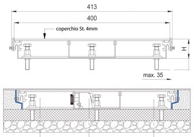 sottopavimento disegno tecnico impianti