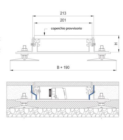 modello laterale scatola di derivazione sistema a filopavimento woertz