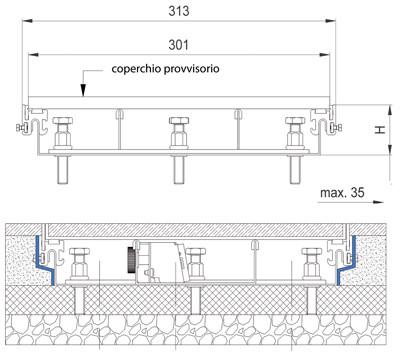schema tecnico sistema filo pavimento 8880 300 woertz